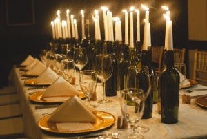 candle wine bottle centerpieces