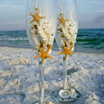 beach wedding toasting flutes 1