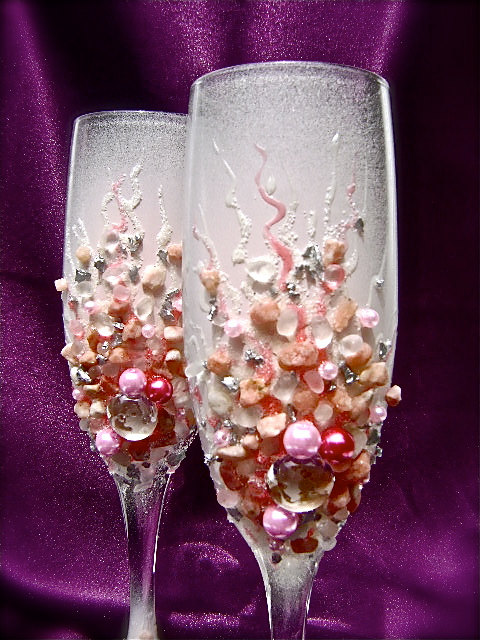 beach wedding toasting flutes 4
