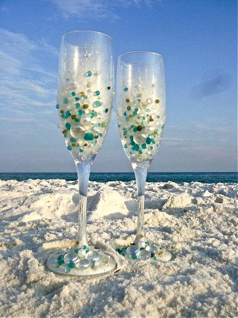 beach wedding toasting flutes 5