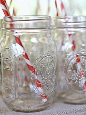 mason jars holding straws