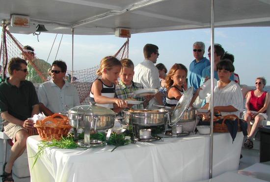 hilton head, pau hana catamaran dinner