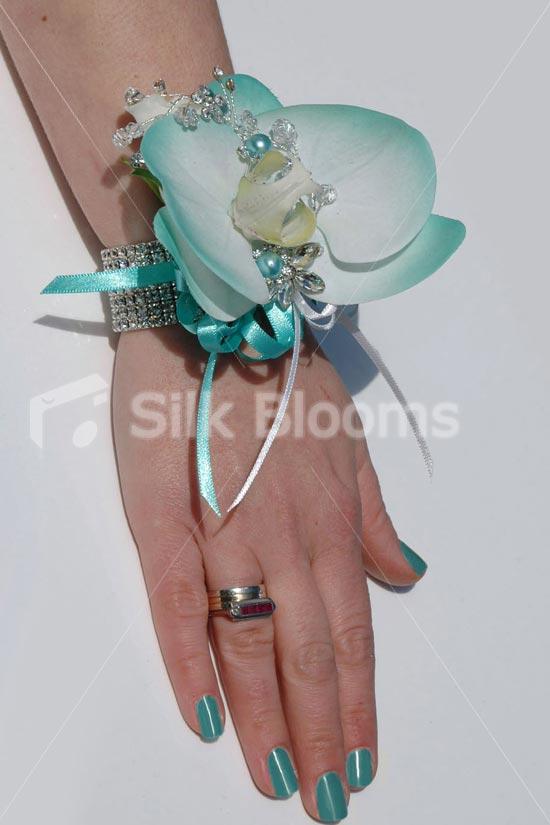 aqua blue-orchid-wrist-corsage