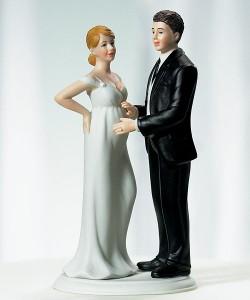 cake topper pregnant bride