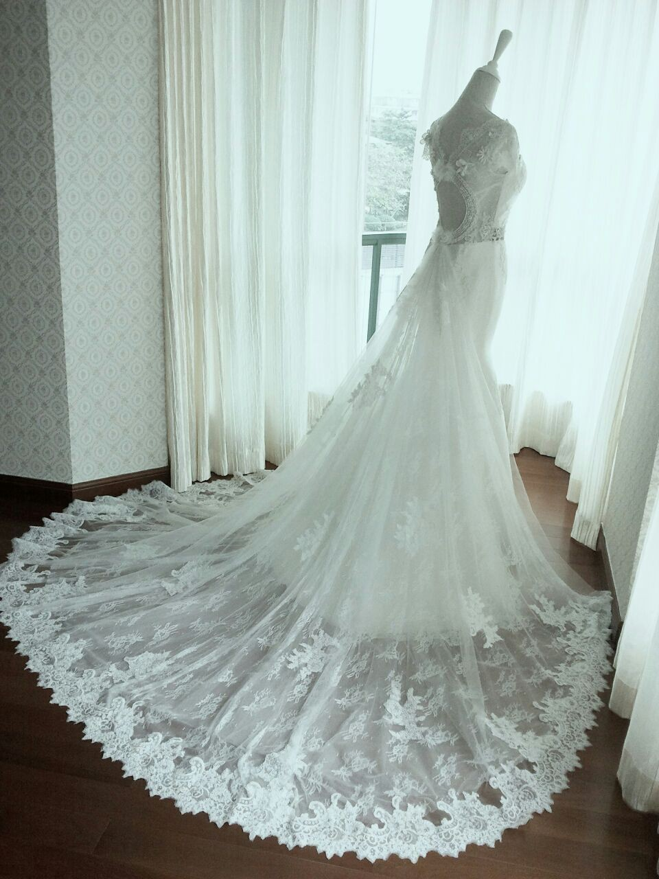 wedding gown-spread behind