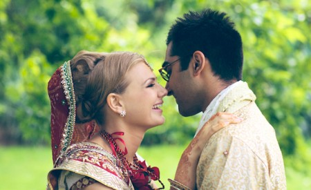 western bride in indian dress