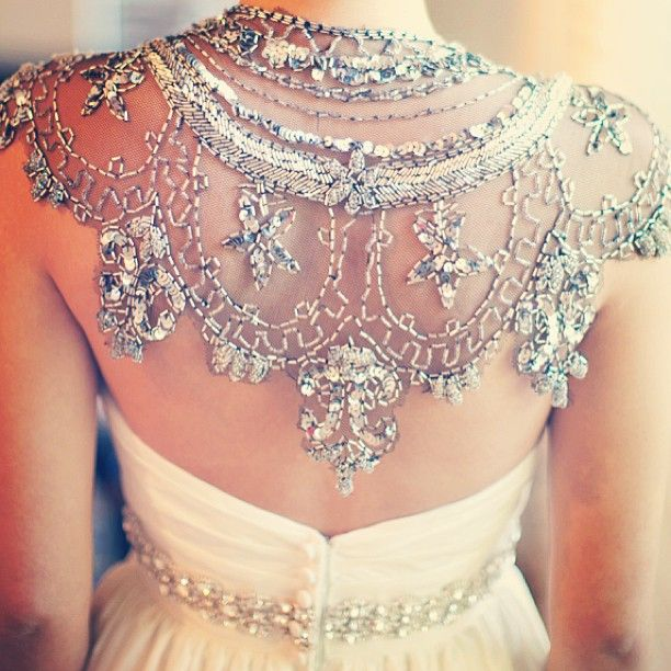 open back with beaded capelet