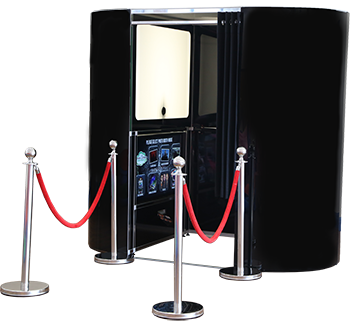 Black Booth with Barriers Cut out