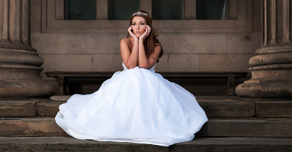 David Walters photos bride siting on stairs