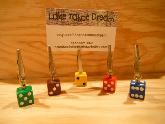 color dice card clips