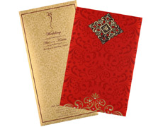 wedding card in elegant gift style with red and golden