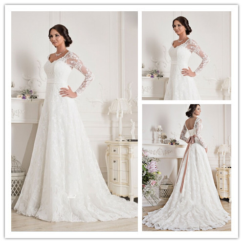 Modest Belt Lace Muslim Wedding Gown