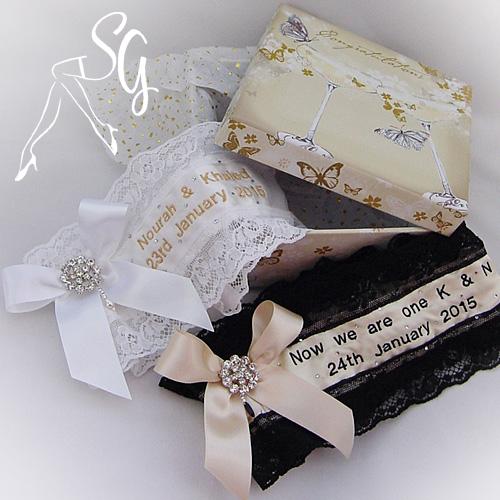 SG custom colours wedding garters