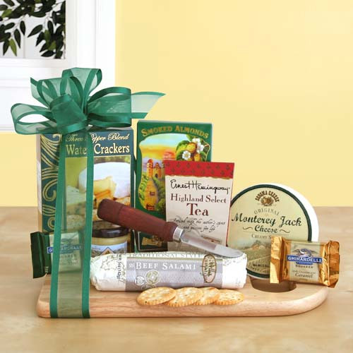 cheese board and knife gourmet basket
