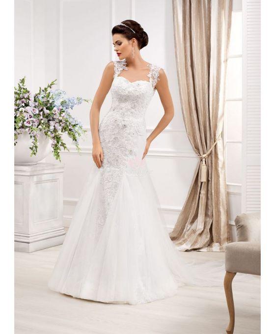 mermaid sweetheart chapel train tulle lace wedding dress