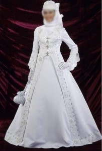 satin embroidery long sleeve wedding gown floor length ball gown