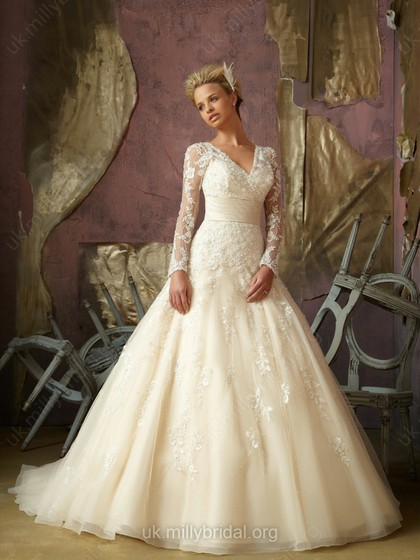 ball gown with long sleeves