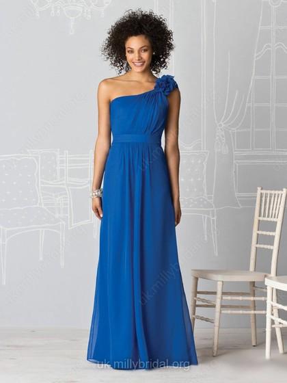 one-shoulder dark blue gown