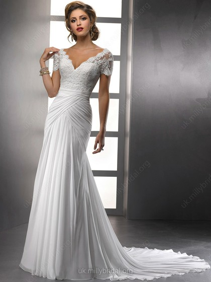sheath gown with ruffles
