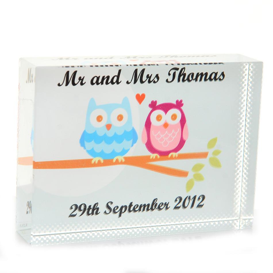 Personalised Owl Wedding Glass Keepsake