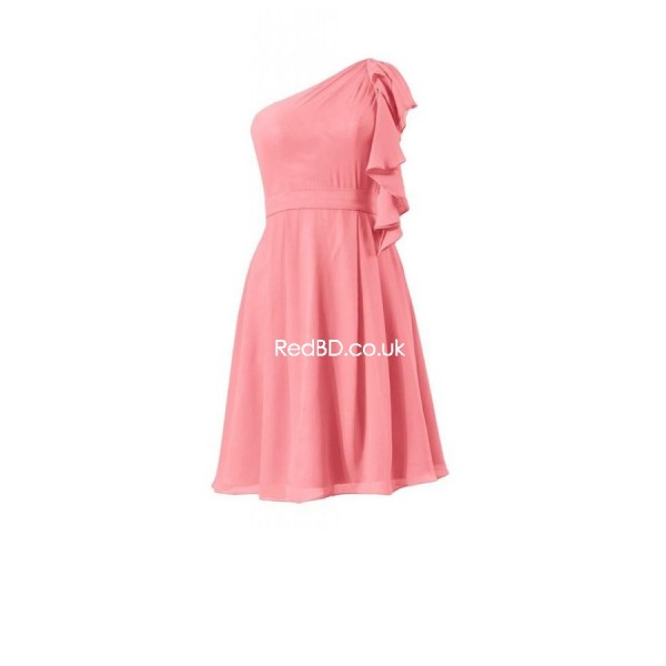 chiffon one shoulder with ruffles simple style short bridesmaid dress