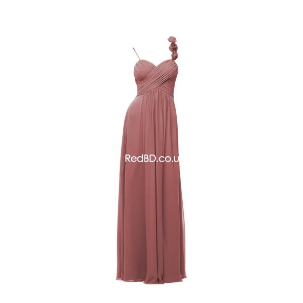 chiffon spaghetti strap with floral detail ruched bodice long bridemsaid dress