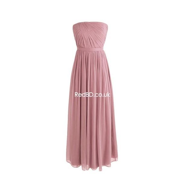 chiffon strapless long wedding bridesmaid dress with asymmetrical pleated bodice