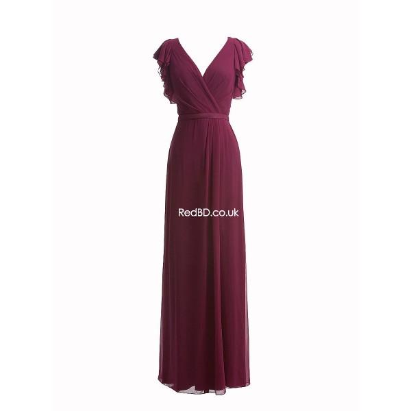 chiffon-v-neckruffle sleeve sheath floor length bridesmaid dress
