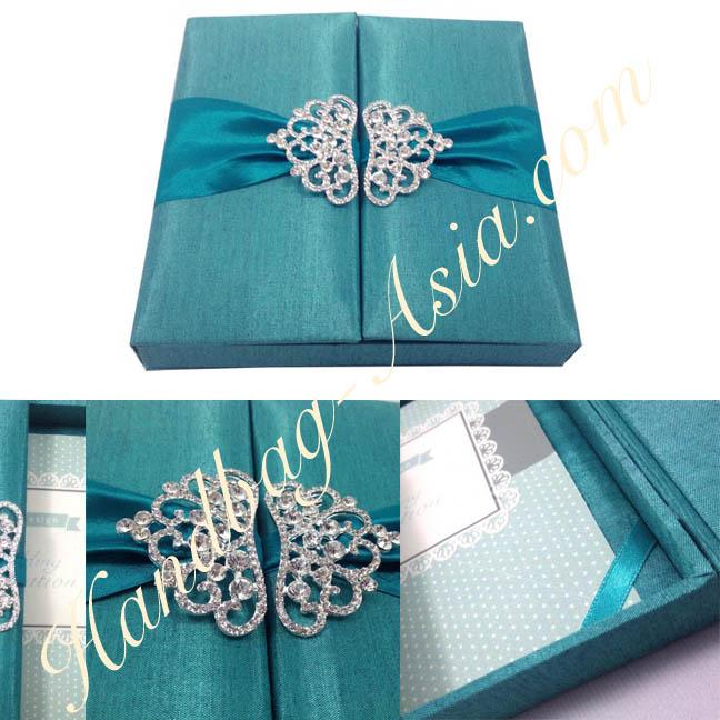 dark turquoise teal wedding invitation box