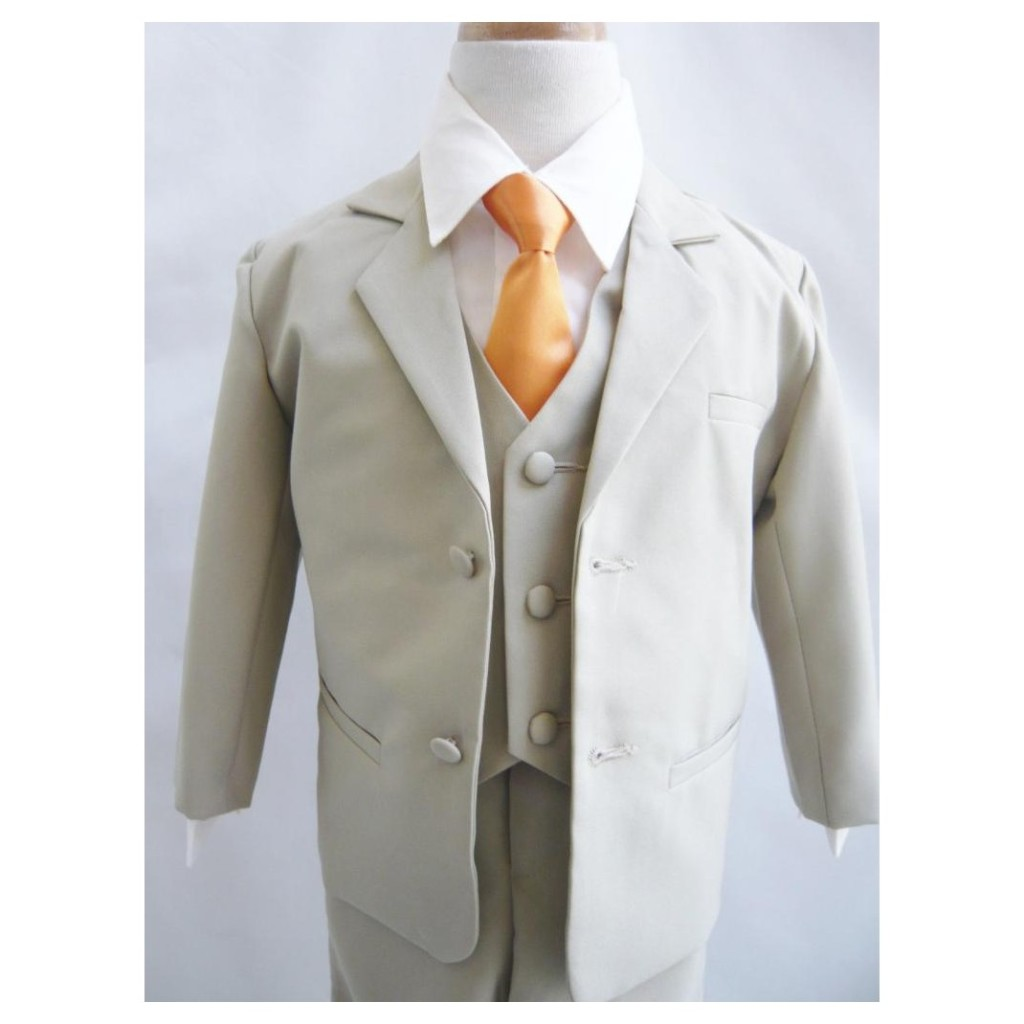 khaki suit with vest and orange tie