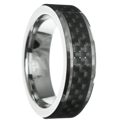 carbon fiber beveled tungsten carbide ring
