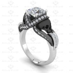aphrodite 161ct certified natural diamond skull white gold engagement ring