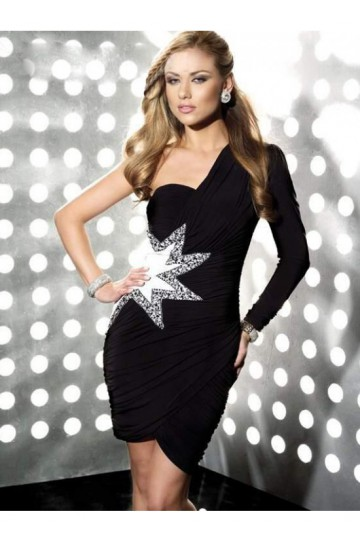 black one-long-sleeve dress
