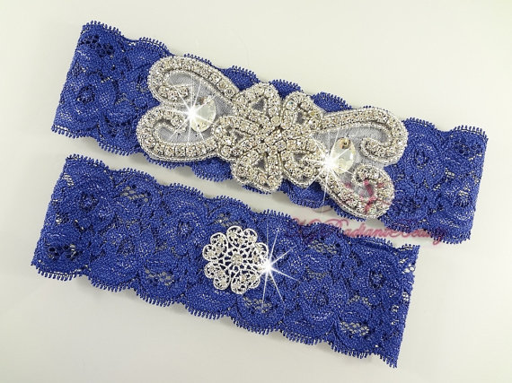 navy blue garter with rhinestone by MRBBridal