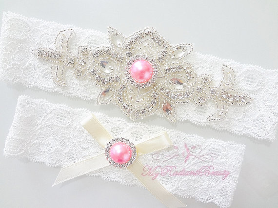 pink rhinestone garter by MRBBridal