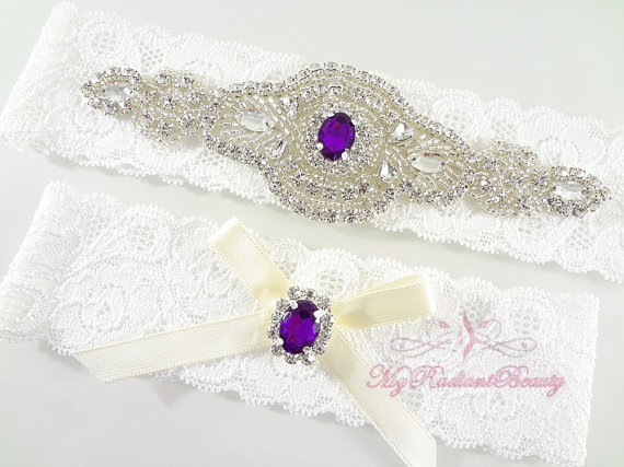 purple rhinestone garter by MRBBridal