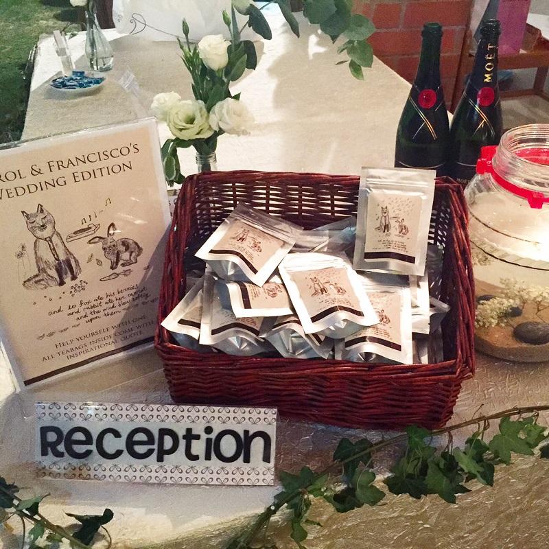 tea sachets as wedding door gifts by collaboration tea