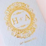 Hot Stamp Emboss wedding invitation
