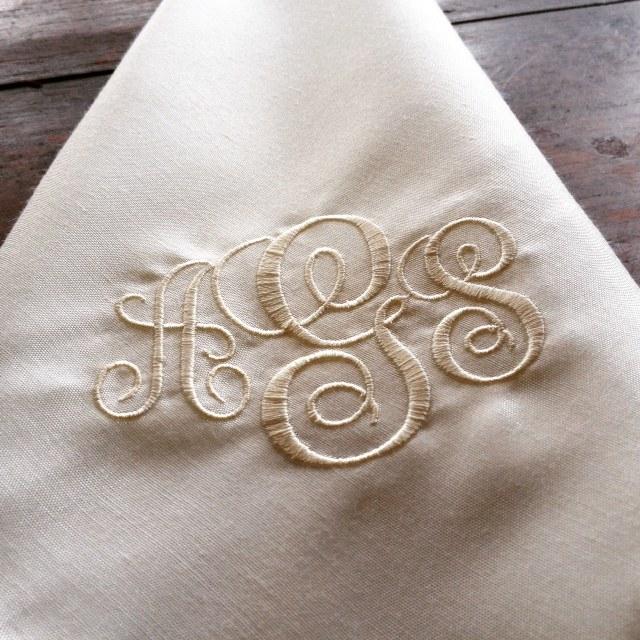 embroidered silk napkins