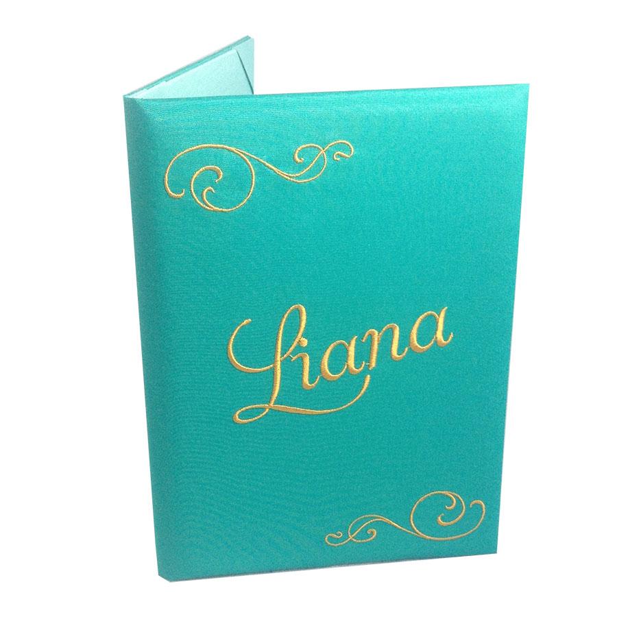 turquoise embroidered silk pocket invitation folder