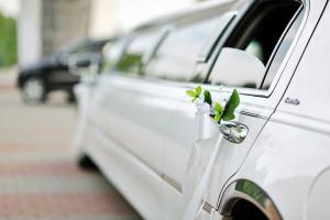 white limo wedding