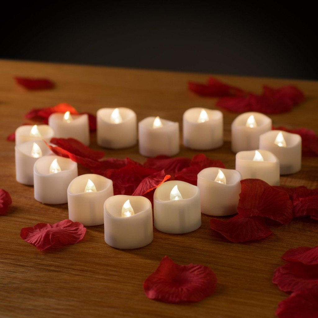 battery-operated candles in shape of heart