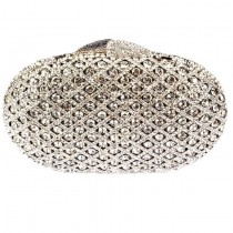 Oval Silver Clutch Bag by Bag In Store