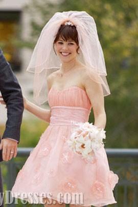 Rachel mcadams short pink wedding dress in movie the vow
