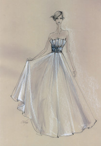 ball gown bridal dress illustration by Connie Tao