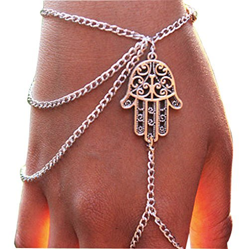 silver hand shaped link chain