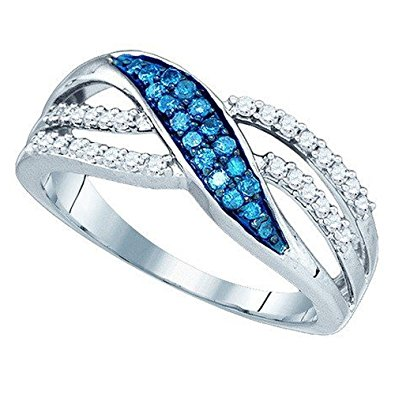 white and blue diamond ring in white gold