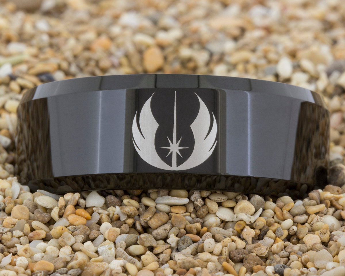 tungsten wedding rings look the most fabulous on your big day while being easy on your pocket star wars wedding bands Star Wars Jedi tungsten wedding ring tungsten wedding ring by PebbleBeachTreasures com