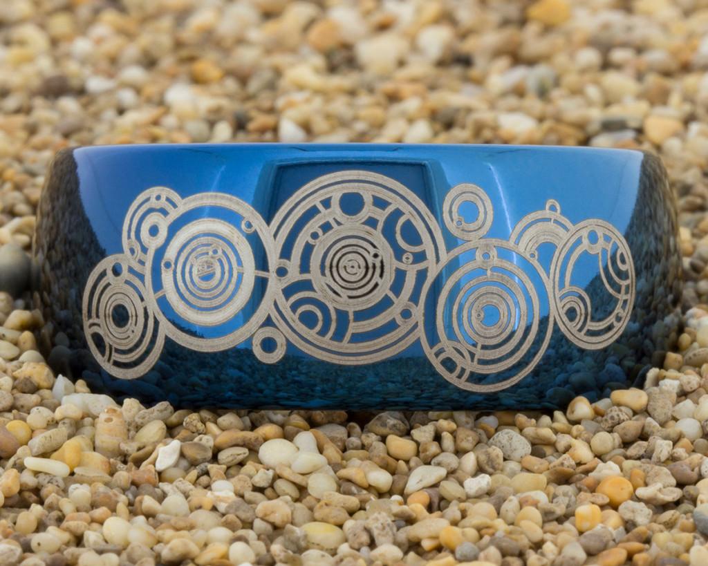 blue tungsten wedding ring by PebbleBeachTreasures.com