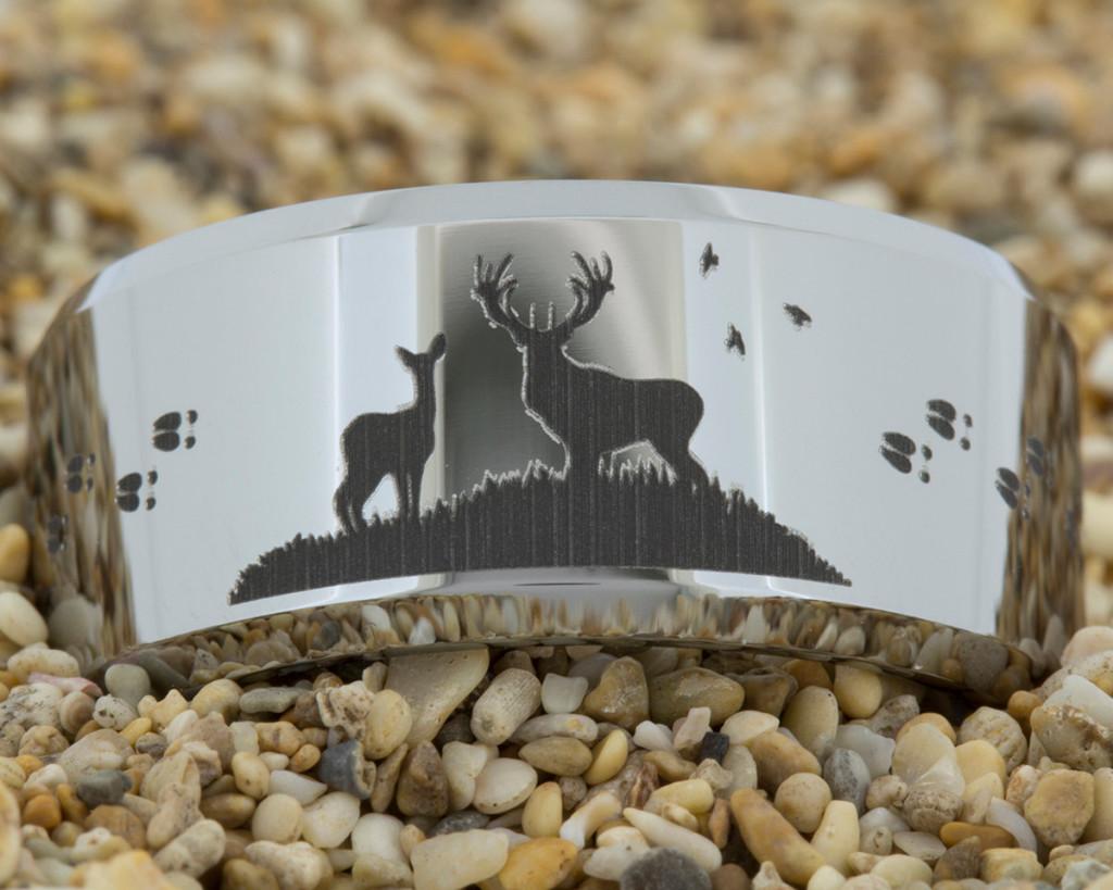 tungsten wedding ring with deer tacks design by PebbleBeachTreasures.com